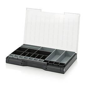 Einsatzkasten-Set für Sortimentskasten 600 x 400 mm, ABS-Kunststoff, verschied. Rastergrößen, anthrazit/grau, 25-teilig
