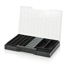 Einsatzkasten-Set für Sortimentskasten 600 x 400 mm, ABS-Kunststoff, verschied. Rastergrößen, anthrazit/grau, 45-teilig