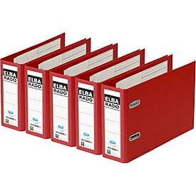 ELBA Ordner rado plast, DIN A5 quer, Rückenbreite 75 mm, Karton PVC, rot