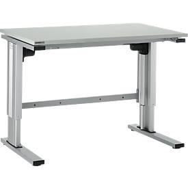 Elektrisch hoogteverstelbare tafel EL-1, L 1200 x B 800 mm, onderstel aluzilver en blad lichtgrijs