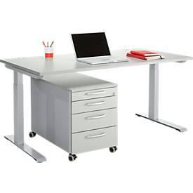 Ensemble de bureau 2 pcs. MODENA FLEX, hauteur ajustable, largeur 1600mm + caisson mobile, gris clair