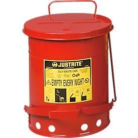 Entsorgungsbehälter aus Stahlblech mit Fußpedal, 20 l