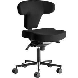 Ergo+ bureaustoel, zonder armleuningen, asynchroon mechanisme, voorgevormde zitting, T-vormige rugleuning, zwart/aluminiumzilver