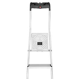 Escalera de tijera Hailo L60, EN 131, con bandeja multifuncional y protección de juntas, hasta 150kg, 3 escalones