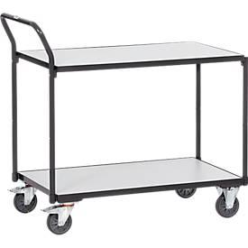 ESD-Tischwagen, 2 Etagen, L 850 x B 500 mm, bis 300 kg, Stahl/Holz, schiefergrau