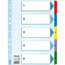 Esselte Intercalaires en carton avec onglets renforcés en Mylar, format A4