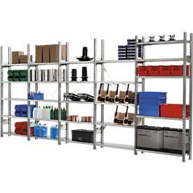 Estantería ensamblable R 3000, estantería completa 5,155m, 1 módulo base y 4 módulos adicionales incl. 25 estantes, galvanizado, Al 2278 x An 5155 x P 500mm