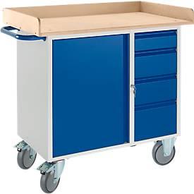 Etabli avec armoire, avec rebord sur 3 côtés, 2 roulettes orientables et 2 roulettes fixes