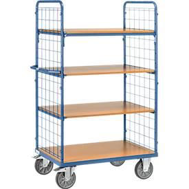 Etagenwagen, 4 Holz-Böden, bis 600 kg, 2-seitige Gitterwände, 1000 x 600 mm, blau