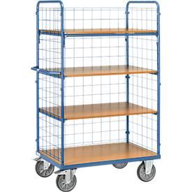 Etagenwagen, 4 Holz-Böden, bis 600 kg, 3 Gitterwände, 1000 x 600 mm, Stahl, blau