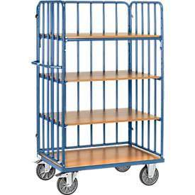 Etagenwagen, 4 Holz-Böden, bis 600 kg, 3-seitige Streben, 1000 x 600 mm, Stahl, blau