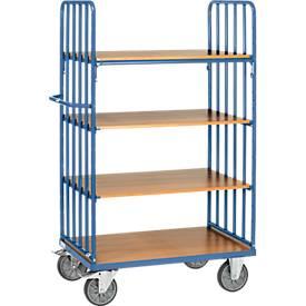 Etagenwagen, 4 Holz-Böden, bis 600 kg, Stirnwände mit Streben, 1000 x 600 mm, Stahl, blau