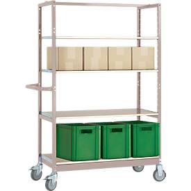 Etagenwagen VARIMOBIL, Stahlblech, 4 höhenverstellbare Holzböden, bis 250 kg, Tiefe 500 mm