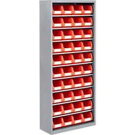 Etagère TOP FIX, haut. 1575 mm, 9 tablettes, 40 bacs, sans portes