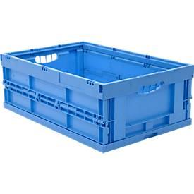 EURO-afmetingen vouwbox 6422 NG, zonder deksel, voor magazijn- en multitransport, inhoud 41,4 l, blauw