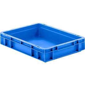 Euro box serie EF 4070, van PP, inhoud 6,9 l, gesloten wanden, greep, blauw