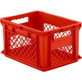 Euro Box Serie EF 4221, aus PP, Inhalt 20,4 L, durchbrochene Wände, Durchfassgriff, rot