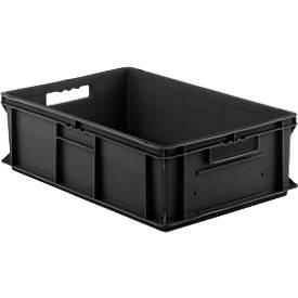Euro Box Serie EF 6180, leitfähiges PP, Inhalt 35,4 L, Durchfassgriff, schwarz