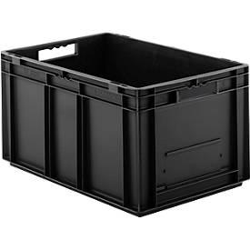 Euro Box Serie EF 6320, leitfähiges PP, Inhalt 63,7 L, Durchfassgriff, schwarz