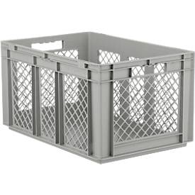Euro Box Serie EF 6321, aus PP, Inhalt 63,7 L, durchbrochene Wände, grau, Durchfassgriff