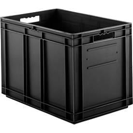 Euro Box Serie EF 6420, leitfähiges PP, Inhalt 83,8 L, Durchfassgriff, schwarz
