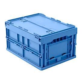 EURO-Maß Faltbox 4322 DL, mit Deckel, für Lager- und Mehrwegtransport, Inhalt 19 L, blau
