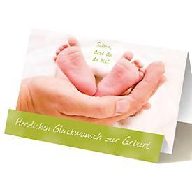 Extraknick-Geburtskarte Babyfüße, geschlechtsneutral, mit 3D-Effekt, mit Umschlag