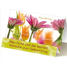 Extraknick-Geburtstagskarte Blumen, mit 3D-Effekt, mit Umschlag
