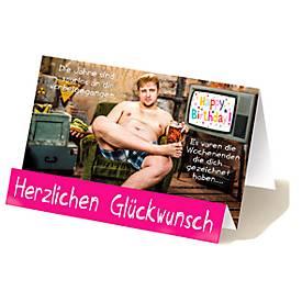 Extraknick-Geburtstagskarte Herzlichen Glückwunsch, Motiv Mann, mit Umschlag