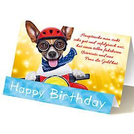 Extraknick-Geburtstagskarte Hund mit Fliegerbrille, für Männer, 3D-Effekt, Umschlag