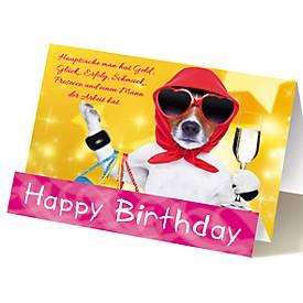 Extraknick-Geburtstagskarte Hund mit Sektglas, für Frauen, mit 3D-Effekt, m. Umschlag