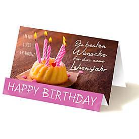 Extraknick-Geburtstagskarte Kuchen mit Kerzen, mit 3D-Effekt, m. Briefumschlag