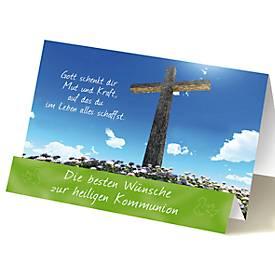 Extraknick-Grußkarte Kommunion, Motiv Kreuz, mi...