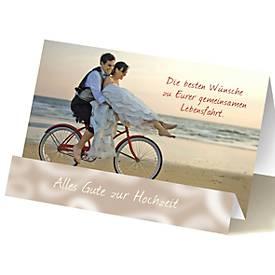 Extraknick-Hochzeitskarte Paar auf Fahrrad, mit 3D-Effekt, mit Umschlag