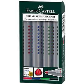 FABER-CASTELL Flipchartmarker Grip, farbsortiert, 4er Set