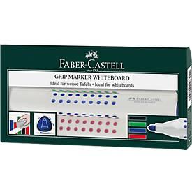FABER-CASTELL Whiteboardmarker Grip, farbsortiert, 4er Set