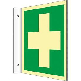 Fahnenschild mit Erste Hilfe-Symbol