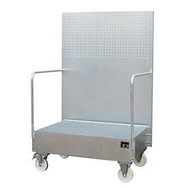 Fahrbare Auffangwanne, aus Stahl, 215 l Auffangvolumen für 2 x 200-Liter Fässer, verzinkt
