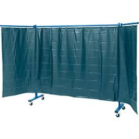 Fahrbare Schutzwand m. Folienvorhang, 3-tlg., dunkelgrün