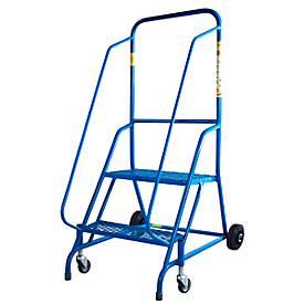 Fahrbare Stehleiter, blau, pulverbeschichteter Stahlrahmen, 2 Lenkrollen und 2 Rollen