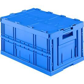 Faltkasten im EURO-Maß FK E-D-6320-2, mit Deckel, 64 l, blau