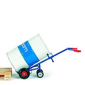 Fasskarre mit 2 Stützrädern, Vollgummiräder, für 200 l Stahlblechfass mit Rand