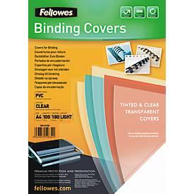 Fellowes Deckblatt PVC, transparent, DIN A4, für Draht- und Plastikbindemaschinen, 180 µm, 100
