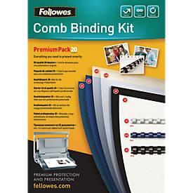 Fellowes Plastikbindung Premium-Kit, Binderücken u. Deckblätter, f. 20 Dokumente