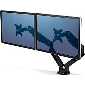 Fellowes Platinum Doppel-Monitorarm, für 2 Monitore, 360° drehbar, Tragkraft bis 9 kg