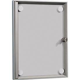 Flach-Schaukasten, rahmenlose Acryl-Ganzglastür, für 1 x DIN A4, inkl. 4 Magente