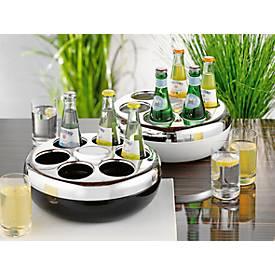 Flaschenkühler PURE, rund, für bis zu 6 Flachen mit 0,2-0,33 l, Kühlakku, Kunststoff, silber-schwarz