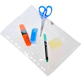 Foldersys Pochettes perforées PVC pour petit matériel avec tirette, A4, paquet de 10 pièces