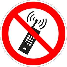 """Folie """"Eingeschaltete Mobiltelefone verboten"""""""