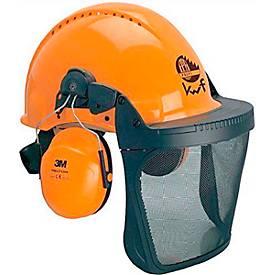 Forstschutzhelm 3M™ G3000M, UV-stabilisierter ABS-Kunststoff, orange, mit Gehörschutz, Netzvisier, Belüftung